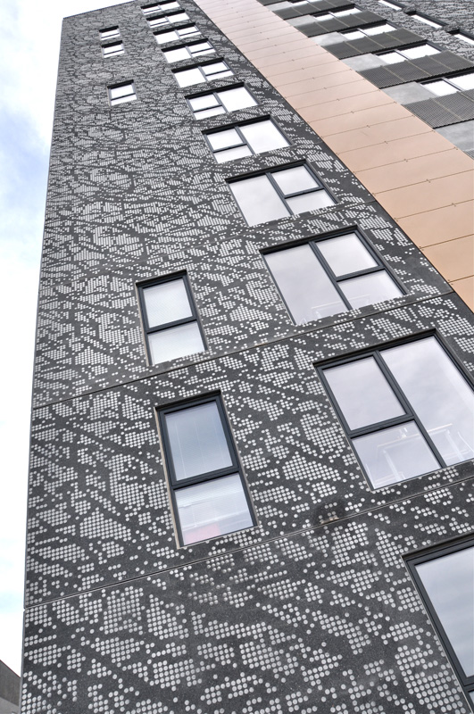 Udsmykning af facade - Grundfoss Kollegiet - Aarhus